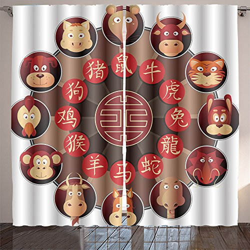 Analisahome chinese zodiac wheel with twelve cartoon animals with corresponding hieroglyphs Bedroom/Living Room/2 Panels by Analisahome