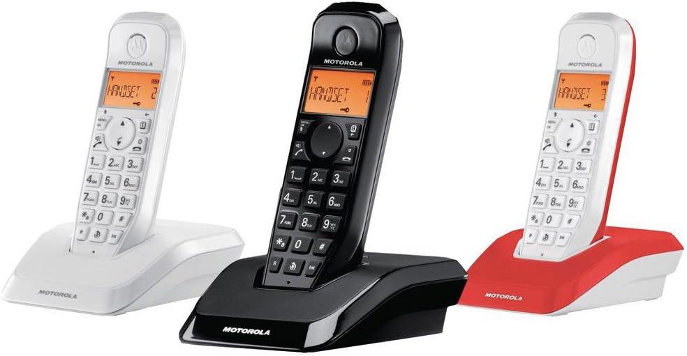 Motorola S12 Trio - Teléfono Fijo, Color Blanco, Negro y Rojo