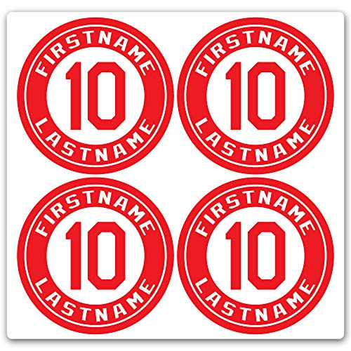 Custom Baseball Bat Decal Set - Player Name and Number Design Bat Knob Sticker (Red)
