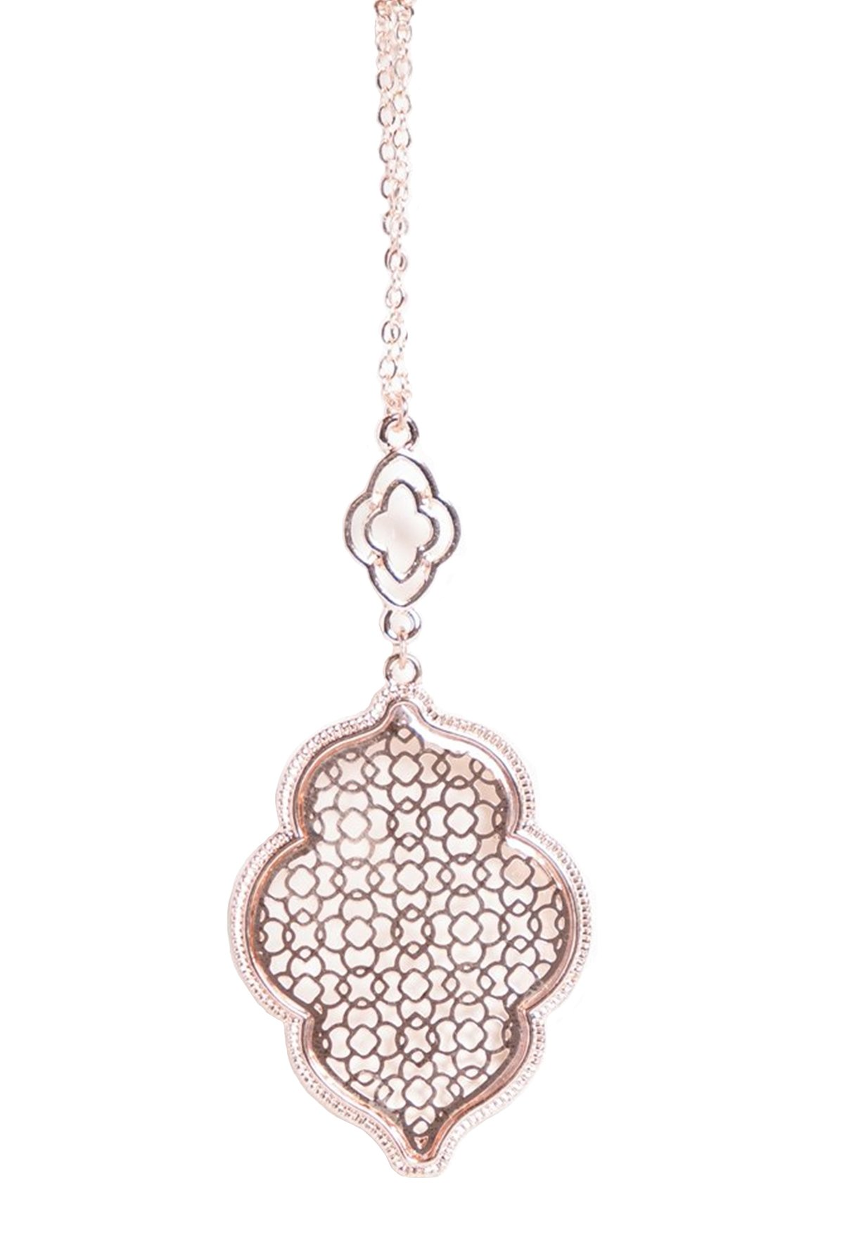 stylesilove Womens Trendy Two-Tone Cut Off Filigree Quatrefoil Long Chain Pendant Necklace Dangle Earring (Rose Gold/Necklace)