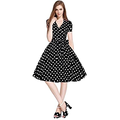 0a745f8bc8 Amazon.com  Charberry Womens Vintage Dress 50S 60S Swing Pinup Retro Casual Housewife  Party Ball Black  Clothing