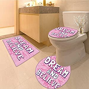 "3 Piece Toilet Cover setquotLook Deep into and then You Wil Understand Everything Better"" Leaf Cut Letter Extra Soft Memory Foam Combo - Rug, Contour Mat and Lid Cover"