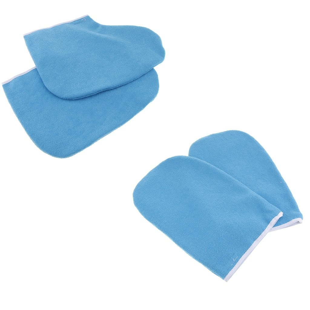 Homyl Paraffin Wax Work Gloves & Booties, Wax Bath Hand Treatment Mitts Foot Spa Cover for Women, Thin Heat Insulated Soft Cotton Mittens Feet Hand Care Set - Blue