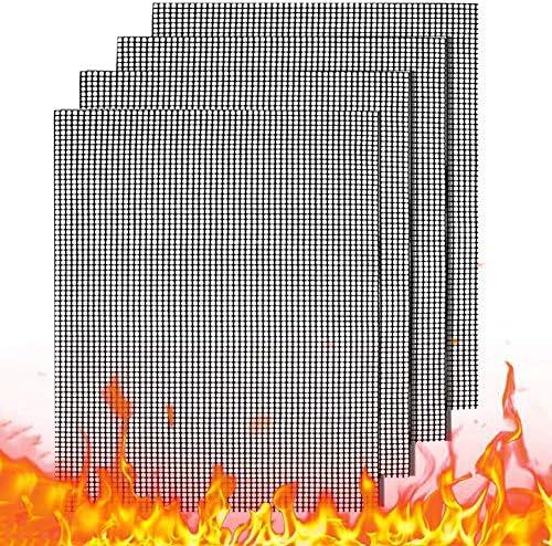 Lot de 4 tapis de cuisson anti-adhésifs pour barbecue au charbon, au gaz ou électrique - Résistants à la chaleur, réutilisables et faciles à nettoyer - 40 x 33 cm