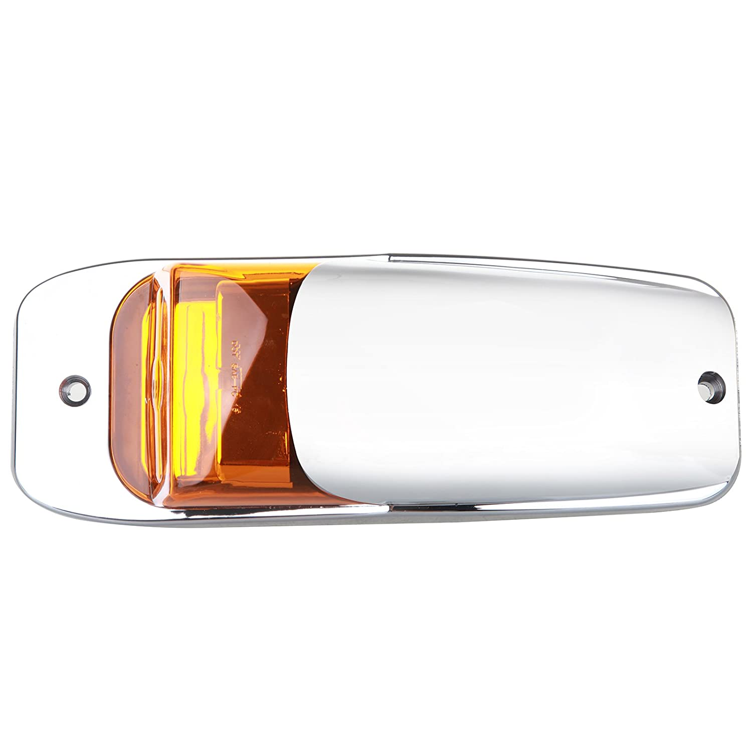 cciyu Cab Marker Light 5x Amber Top Clearance Roof Running Bulbs Chrome base Replacement Cab Marker Assembly Replacement fit for Heavy Duty Trucks Kenworth Peterbilt Freightliner Mack