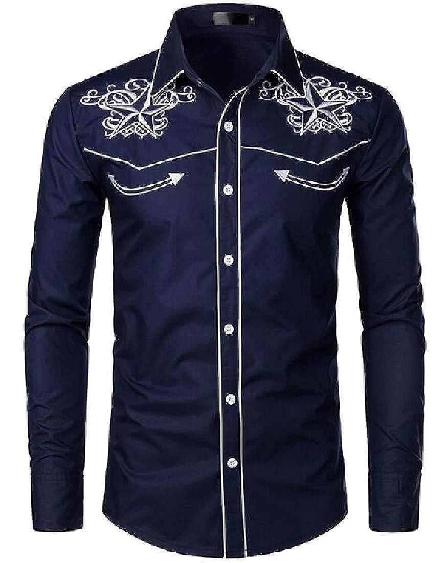 YYG Mens Stylish Buttons Long Sleeve Business Embroidery Print Dress Shirts