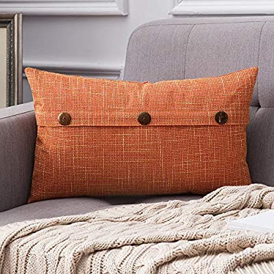 MIULEE Decorative Linen Throw Pillow Covers Cushion Case Triple Button Vintage Farmhouse Pillowcase for Couch Sofa Bed 12 x 20 Inch 30 x 50 cm Orange - Size: Including one pillow cover without insert. Please allow 1-2cm deviation because of manual cutting and measurement. Material: Made of high quality polyester blend with beautiful textures, durable and easy to care. Multiple colors for customers to choose. Button Design: Each pillow cover has three unique buttons on the face side, adding vintage and farmhouse feeling to your room. Hidden zipper below also works well. - living-room-soft-furnishings, living-room, decorative-pillows - 61nzCJEUZ7L. SS400  -