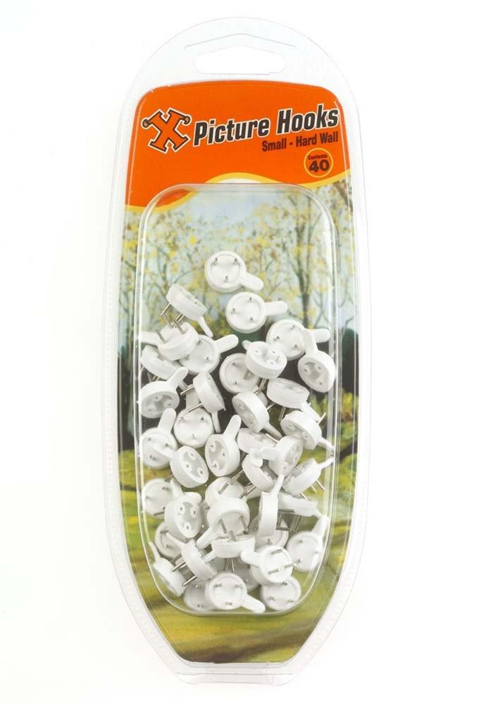 X Lot de 40 crochets petite taille en nylon pour murs durs Blanc Frank Shaw 12892