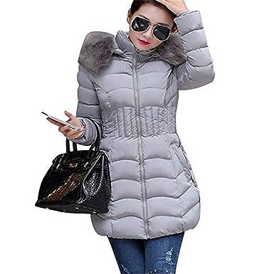 D'hiver Fanessy De Manteau Femme Col Épaisse Duvert Veste Fourrure IYfy7gb6v