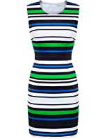 FSOOG Summer Striped Sleeveless Wear to Work Casual Party Pencil Business Dress