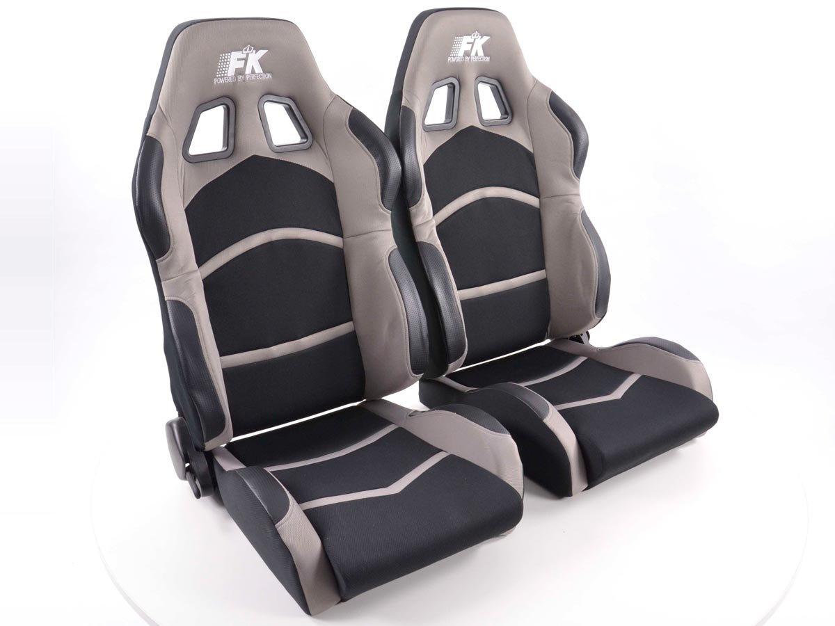 FK-Automotive Sportsitz Set Cyberstar 1x links+1x rechts schwarz grau