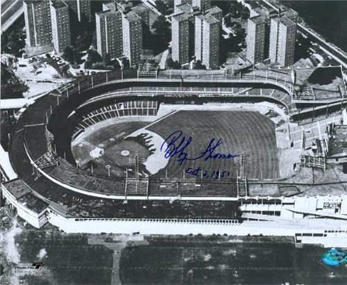 Signed Bobby Thomson Photo - Polo Grounds by inscribed OCT 3 1951 - Autographed MLB Photos