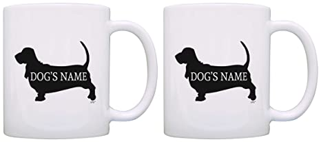 Custom Basset Hound Gifts Add Dogu0027s Name Owners Personalized 2 Pack Gift Coffee Mugs Tea Cups  sc 1 st  Amazon.com & Amazon.com: Custom Basset Hound Gifts Add Dogu0027s Name Owners ...