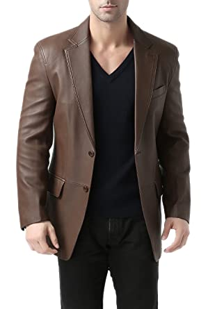aabb7a940c69 BGSD Men s Grant Two-Button New Zealand Lambskin Leather Blazer (Regular    Tall) at Amazon Men s Clothing store