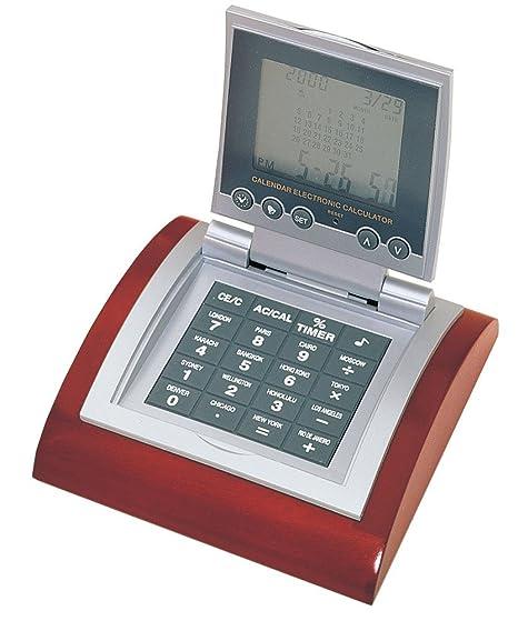 Amazon Com Digital Calendar Clock And Calculator With Wooden