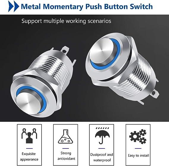 Gr/ün Auto LED Power Druckschalter 12mm Auto 1NO Wasserdichte Metall Momentary Push Button Kreis Schalter 4 Pin