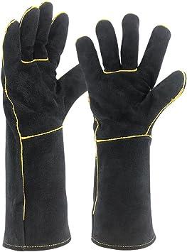 Welders Gauntlet Welding Gloves Cowhide Leather Stove Log Fire Gauntlets