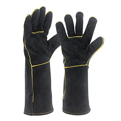 Welding Gloves Heat Resistant Cow Split Leather Bbq Camping Cooking