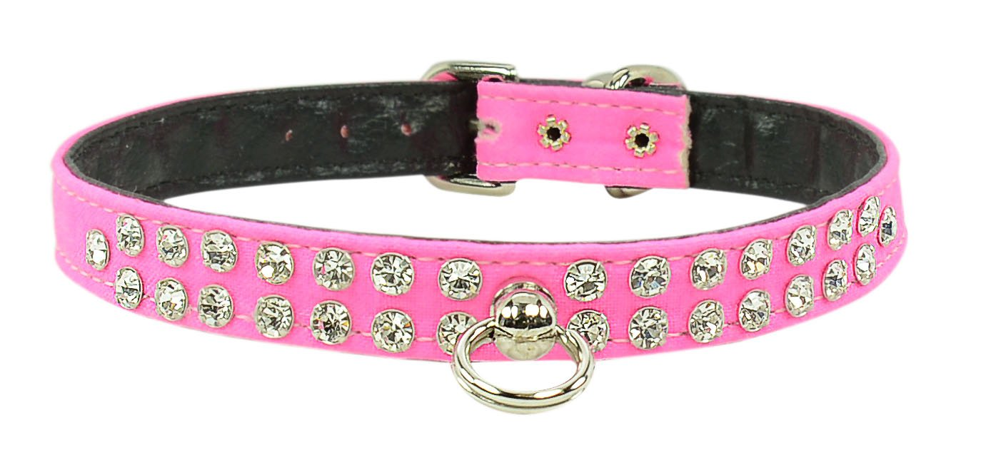 Evans Collars 1 2  Jeweled Collar, Size 14, Solid Cotton, Neon Pink