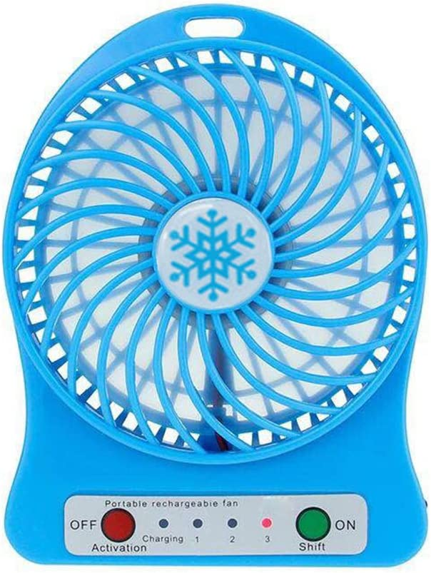 Lucky Shop1234 USB Mini Fan Portable Rechargeable Desktop Fan Powered by USB and A 18650 Battery Mini Air Conditioner Ideal for Summer Travel Walking Blue