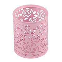 Coolrunner Metal Rose Flower Hollow Pen Pencil Pot Cylinder Container Makeup Cosmetic...