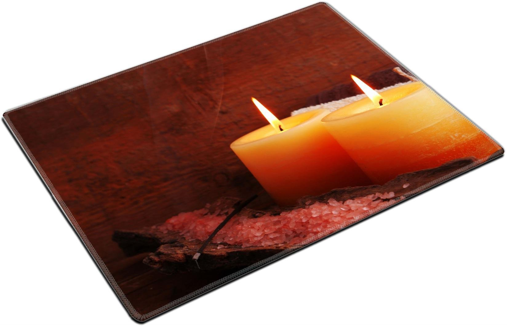 MSD Place Mat Non-Slip Natural Rubber Desk Pads design 34002625 Spa stones with candles and sea salt on wooden background