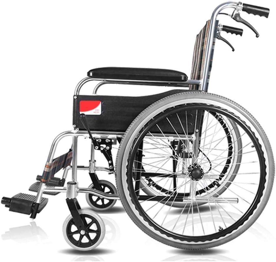 WLD Ancianos Silla de Ruedas Manual Plegable Ligero de Aleación de Aluminio, Minusválidos de Edad Avanzada Médico Conducción adulto