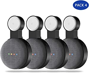 Google Home Mini Wall Mount Holder,Update Space-Saving Design AC Outlet Mount, Perfect Cord Management for Google Home Mini Voice Assistant (4 Pack Black)