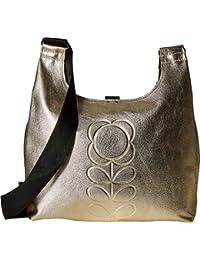 Embossed Flower Stem Leather Midi Sling Bag