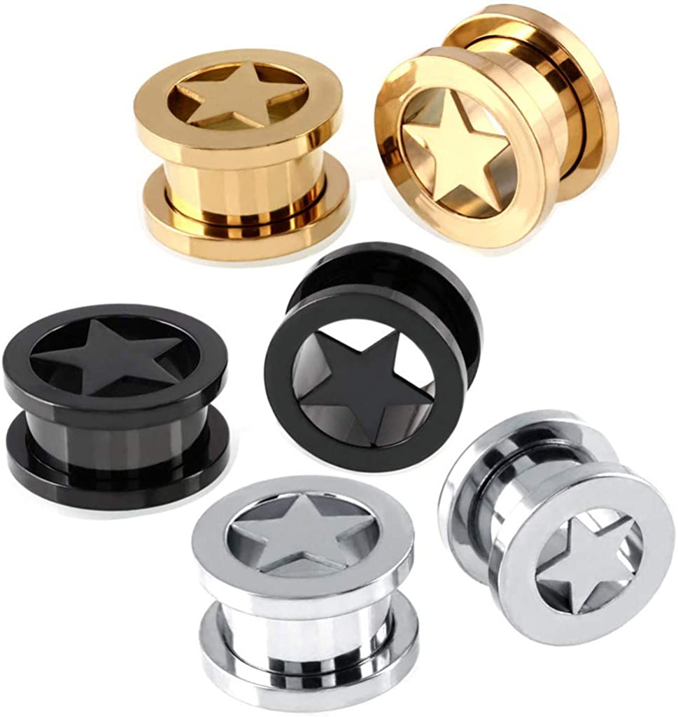 YTE 1-3 Pairs Stainless Steel Ear Expansion Pentagram Channel Human Puncture Tunnels Ear Stretching Set 12mm