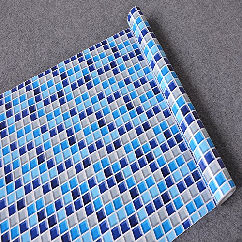 Review SimpleLife4U Royal Blue Mosaic Contact Paper Self-Adhesive Shelf Liner Countertop By SimpleLife4U by SimpleLife4U