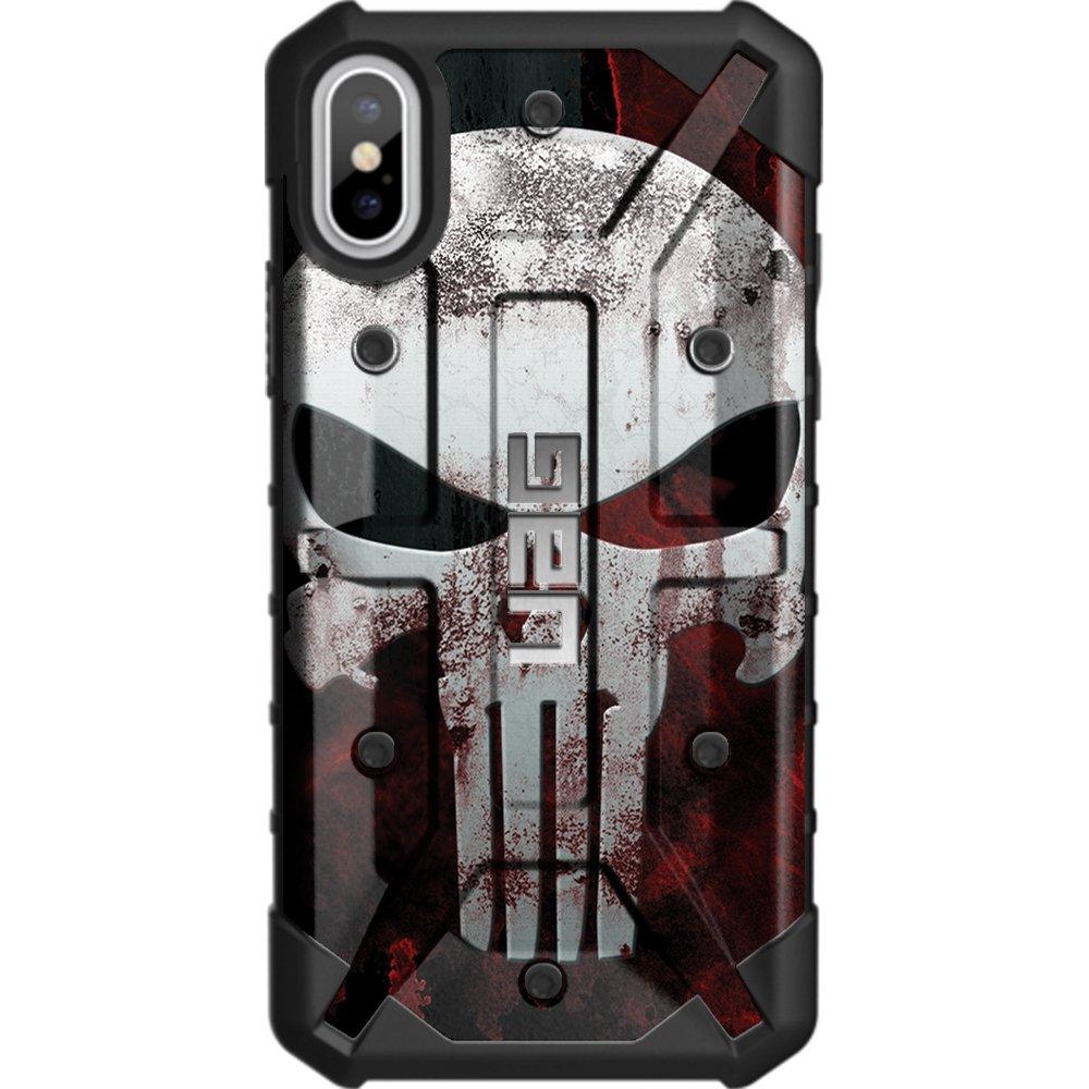 Limited Edition - Customized Designs by Ego Tactical Over a UAG- Urban Armor Gear Case for Apple iPhone X/Xs (5.8'')- Black, Bloody Punisher