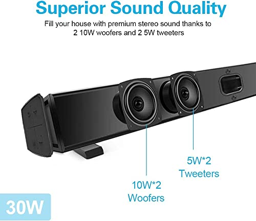 Sound Bars for TV, COSOOS 30W 36.2inch Soundbar with Bluetooth 4.2, Remote Control, Home Theater System, Support Digital Optical, Coaxial, RCA, AUX, TF Card, Wall Mountable