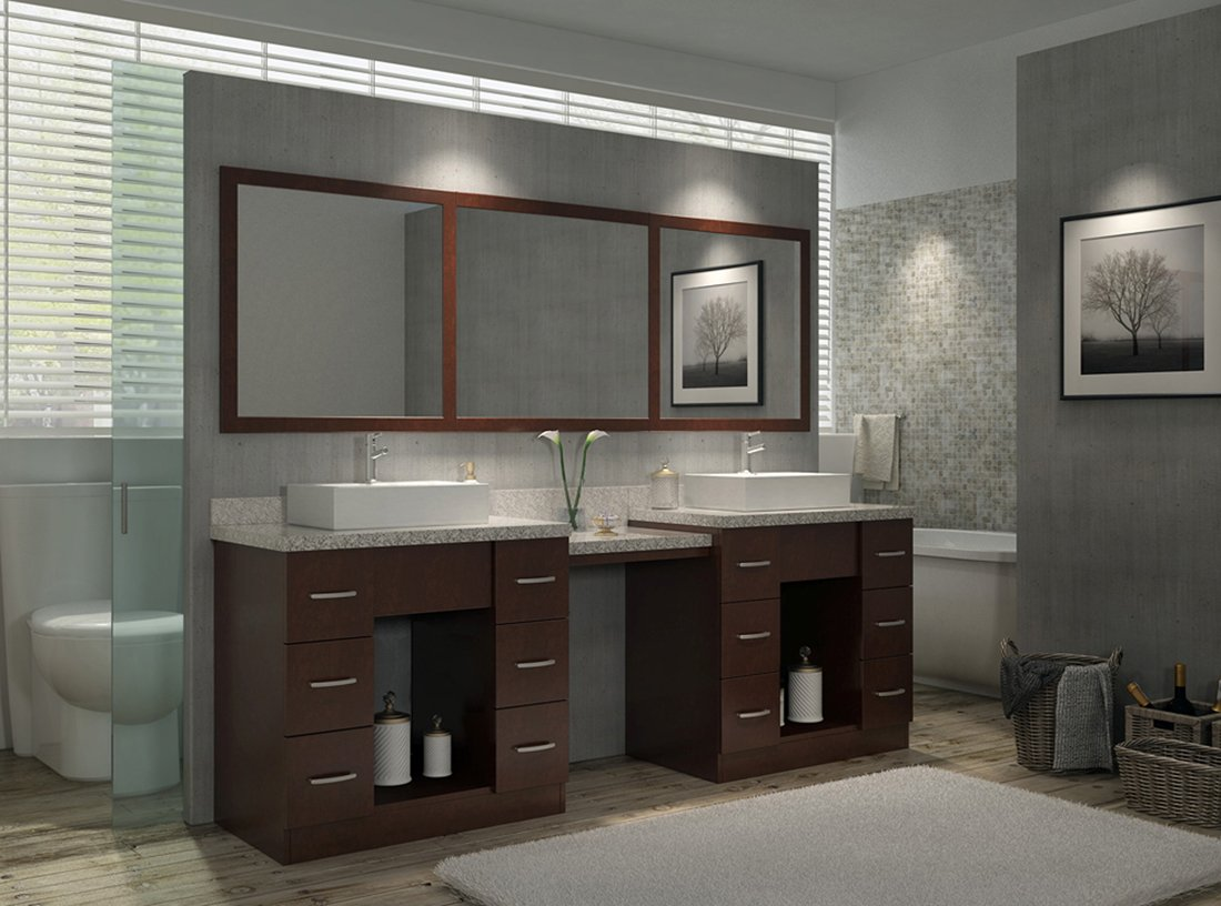 Decorative Bathroom Rug Design For Bathroom Decor With Double Sink Vanity  Cabinet And Beige Painted Wall