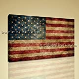 Large Vintage American Flag Other Contemporary On Canvas Print Wall Art 1 Panel, Large map Wall Art, Bedroom, Rope