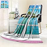 YOYI-HOME Digital Printing Duplex Printed Blanket from The Window On Island in Sunny Summer Day Peace Relax Rest and Forget Theme Pink Blue Summer Quilt Comforter /W59 x H39.5