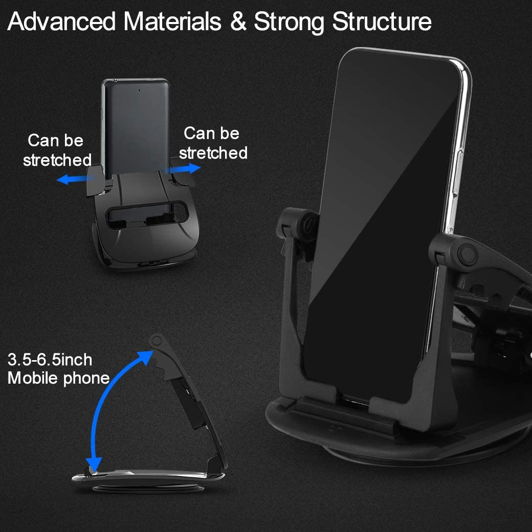 BUSOH Cell Phone Holder for Car Dashboard 360/° Rotate Strong Sticky Gel Premium 3M Dashboard Phone Mount Cradle Fit for iPhone 11 Pro XS Max XR X 6 7 8 Plus Samsung Galaxy Note 9 S8 S9 Pixel GPS