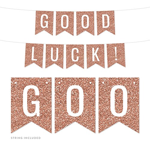 Andaz Press Rose Gold Faux Glitter Background Retirement Party Banner Decorations, Good Luck!, Approx 5-Feet, 1-Set, Birthday Wedding Baby Shower Champagne Colored Hanging Pennant Decor