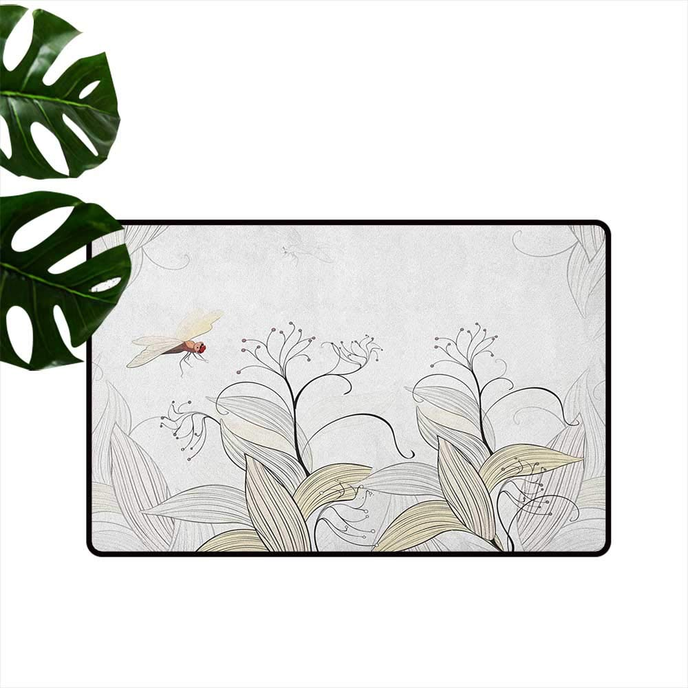 color10 W35 x L59  Dragonfly Indoor Super Absorbs Mud Doormat Asian Lotus Flower with Symbolic Insects Yoga Meditation Theme Artsy Print Anti-Fading W31 x L47 Apple Green Cream