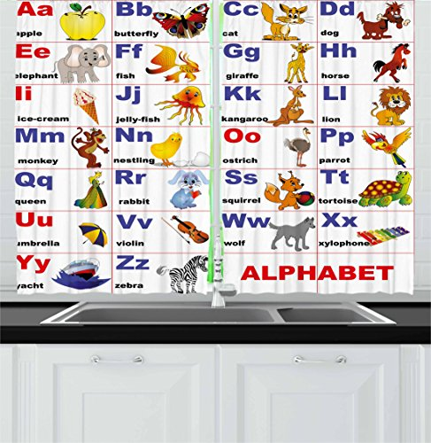 Ambesonne Educational Kitchen Curtains, Animals Placed on Letter The Alphabet Teacher's Chart Classroom Kindergarten, Window Drapes 2 Panel Set for Kitchen Cafe Decor, 55