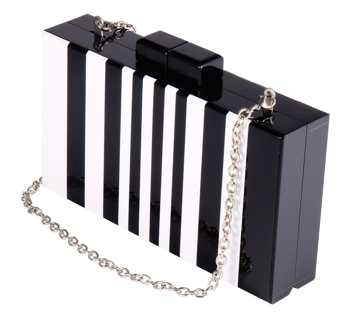 Square Acrylic Clutch Purse Piano Pattern Black and White Clutches Handbags for Women with Chain for Cocktail Banquet Wedding