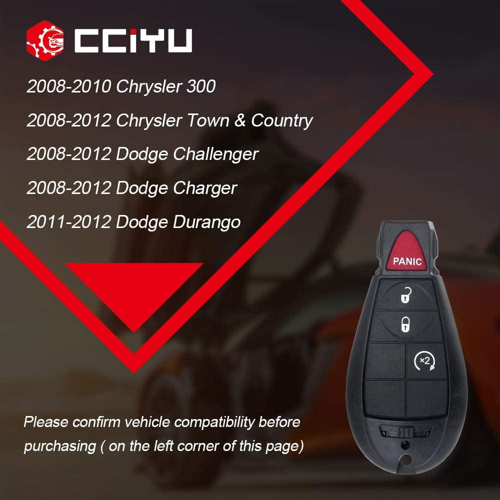 cciyu 2x Uncut 4 Buttons Keyless Entry Remote Fob 433 MHZ Replacement fit for Chrysler 300 Town /& Country Dodge Challenger Durango Journey Magnum Jeep Commander M3N5WY783X, IYZ-C01C