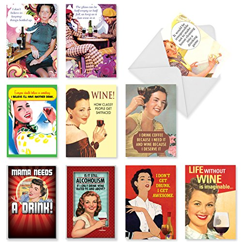 10 Assorted 'Red White and Funny Birthday Assortment' Note Cards w/Envelopes - Boxed Greeting Cards, Humorous, Vintage Birthday Cards for Friends, Family, Adults, Women (5 x 7 Inch) A1245