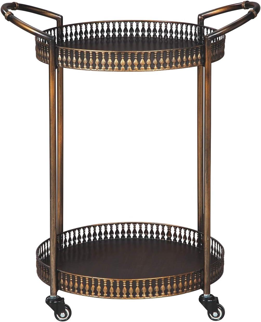 Clarkburn Bar Cart Bronze Finish Ashley Furniture Signature Design