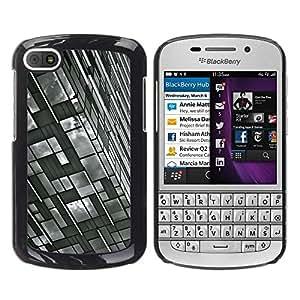FECELL CITY // Duro Aluminio Pegatina PC Caso decorativo Funda Carcasa de Protección para BlackBerry Q10 // Building White Black Engineering