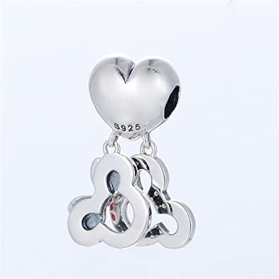 SC Mickey and Minnie Mouse Pendant Charm Sterling Silver S925 0C2sK