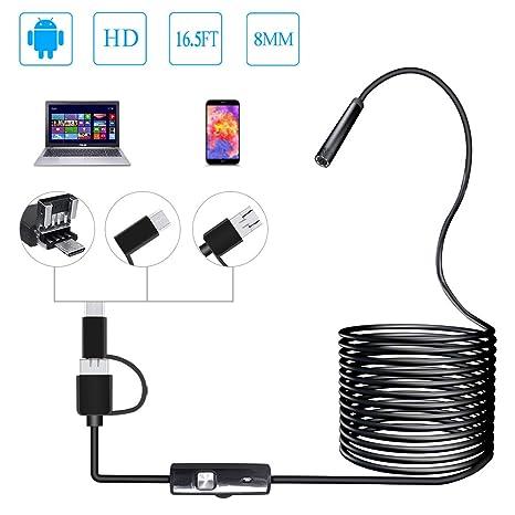 PiAEK Endoscopio USB 2.0 Megapíxeles HD 3 en 1 USB/Micro USB/Type-