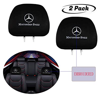 Luckily Seat Head Rest Cover for Mercedes Benz, Embroidered Black Fabric Universal Headrest Cover Set, New Interchangeable Car Seat Headrest Covers Fit for Cars Vans Trucks (for Mercedes Benz): Automotive