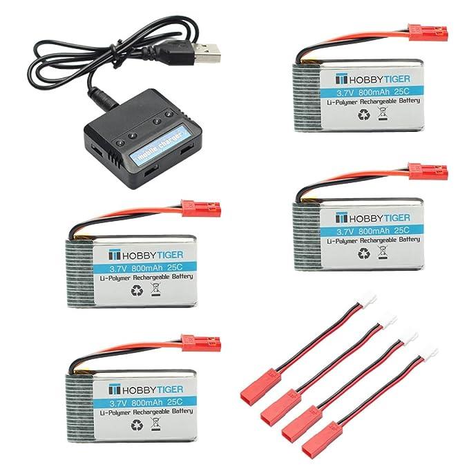 Hobbytiger 4Pcs 3.7V 800mAh Batería Lipo + 4 in 1 Cargador para ...
