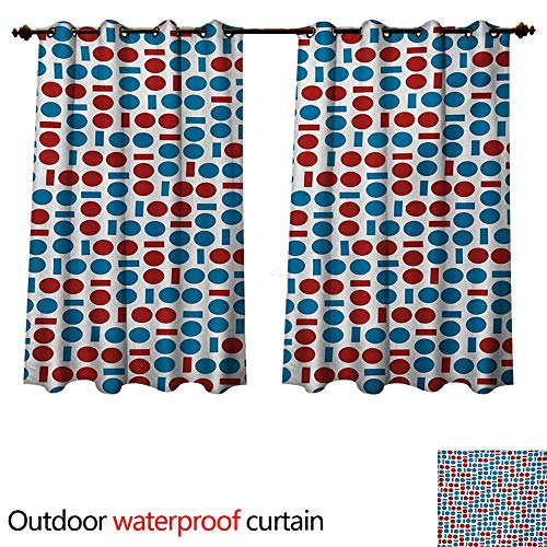 WilliamsDecor Abstract Outdoor Curtain for Patio Circular and Squared Various Two Colored Geometric Forms with Modern Display W63 x L72(160cm x 183cm)
